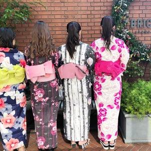専門学校の課外授業は恵比寿ガーデンプレイスで浴衣撮影の画像