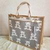 くまちゃん柄のファブリックバッグの画像