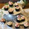 お花畑のようなカップケーキ。江別市野幌でランチ付きフラワーカップケーキのレッスンでした。の画像
