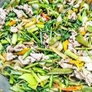 織座農園の野菜と豚肉の中華風炒めの画像