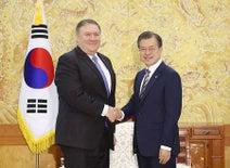 「非核化」の履行支援=文大統領、ポンペオ氏と会談