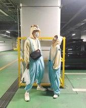 高橋愛、夫・あべこうじとお揃いの着ぐるみ姿を公開「くまたんになりました」