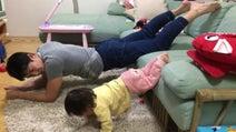 金田朋子、筋トレする1歳の娘に「パパちゃんよりストイック?!かも」