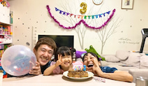 金田朋子、3歳を迎えた娘の誕生日を家族でお祝い「とっても幸せな1日でした」