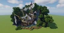 マイクラで「森の中の朽ちた船」を作ってみた…滝に隠れるように佇むその姿へドラマとロマンを感じる!