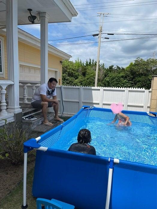 花田虎上、娘達に懇願され新調したプール「しばし呆然としました」