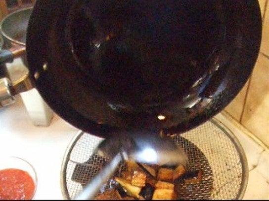 チキンとナスのトマトソースパスタ調理過程