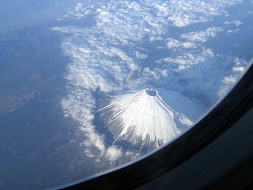 上空から富士山が