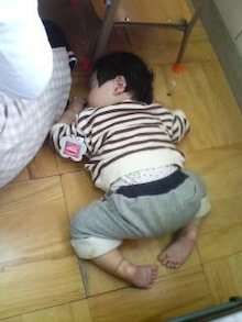 Grumpy Monkey(不機嫌なおさるさん)の観察日記-mini sleep on the floor