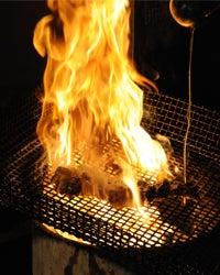 九州焼鳥・馬刺し・無農薬野菜の鳥亭のブログ-炎もも焼き