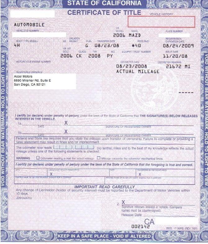 Pink slip registration card accel for E and j motors