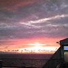 北海道の雄大な夕焼けの画像