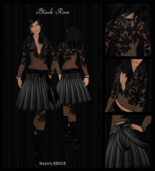 Maya's style / Second Life Fashion-Black Rose / outfit