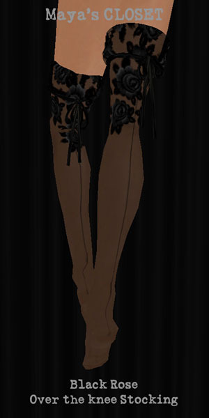 Maya's style / Second Life Fashion-Black Rose Over the knee Stocking