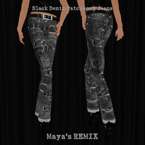 Maya's style / Second Life Fashion-Maya's REMIX black denim patchwork jeans