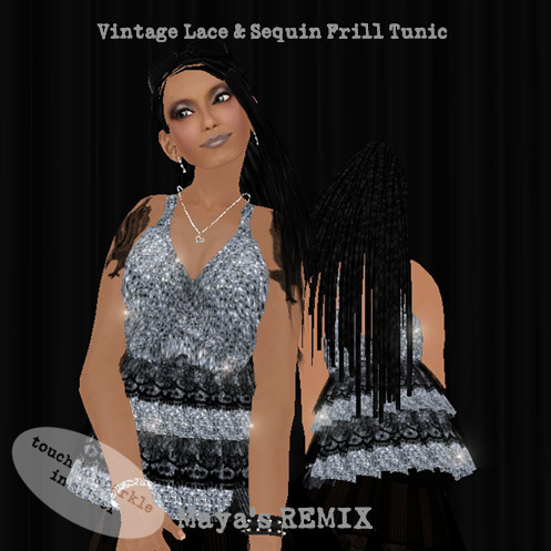 Maya's style / Second Life Fashion-Maya's REMIX lace & sequin frill tunic 1