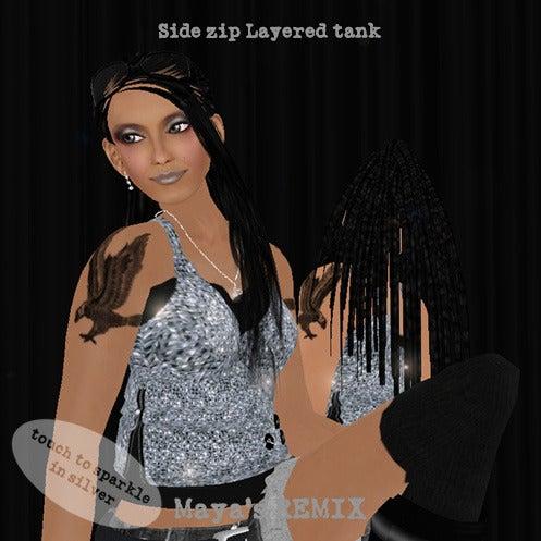 Maya's style / Second Life Fashion-Maya's REMIX side zip layered tank 2