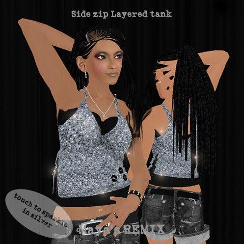 Maya's style / Second Life Fashion-Maya's REMIX side zip layered tank 1