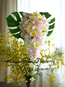 Plumerry(プルメリー)プリザーブドフラワースクール (千葉・浦安校)-シンビジウム プルメリア ブーケ