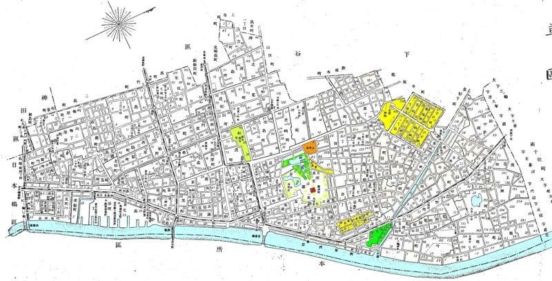 大正元年の浅草区の地図 塗り絵はたのしいですよ 水彩アート