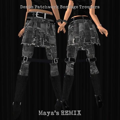 Maya's style / Second Life Fashion-Maya's REMIX patchwork bondage trousers