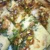 昨日のお昼と夕食☆えびとつる菜のちぢみ  鮭と小松菜の炒め物  冷や奴の画像