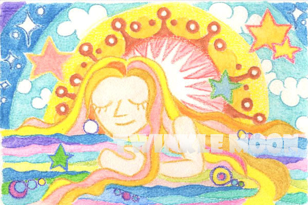 ワクワクの種まき イラスト 水彩色鉛筆画 夜明け