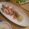 夕食の続き☆チーズとズッキーニのベーコン巻き コーンの豆乳スープの画像