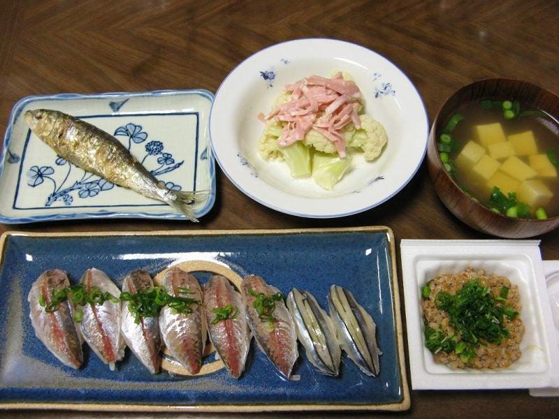 宅ひとりごはん-2/25 晩 鯵寿司