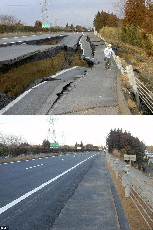 英国アンティークス・オフィシャルブログ-震災後6日で道路を修復