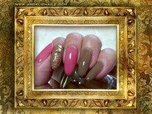 $エンジェリックネイルズ -Angelic Nailz- ジェルネイルサロン -ピンク+チョコブラウン+ゴールドラメマルチカラー