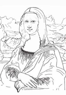名画の塗り絵大人の塗り絵モナリザ塗り絵無料完成