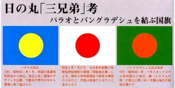日の丸は日本とパラオとバングラ...