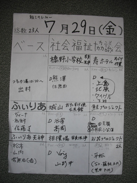 7月29日(金)活動報告の記事より