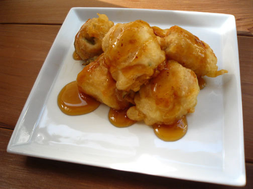 ひよこ食堂-鶏肉の梅しそ巻きフリッター with甘だれのご01