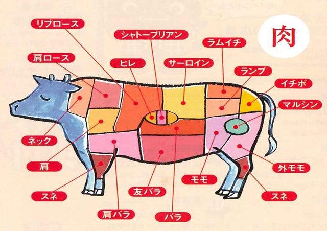 但馬牛を食べるでござる今あなたが食べているお肉はこれだ!(お肉の部位)