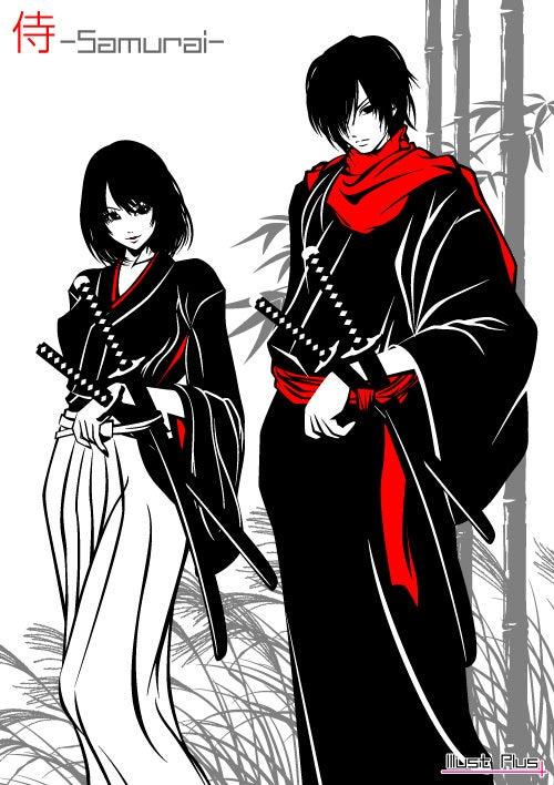 新作イラスト着流しの侍と袴姿の女侍 和風イラスト日本刀着物