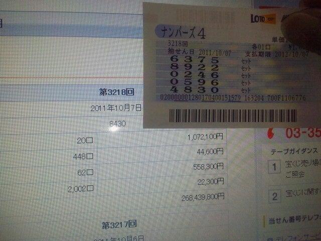 宝くじ ナンバーズ 4 当選 番号