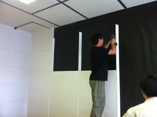 福岡のプロ家庭教師徒然日記-吸音ボードを取りつけ