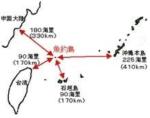 $日本人の進路-尖閣諸島位置図