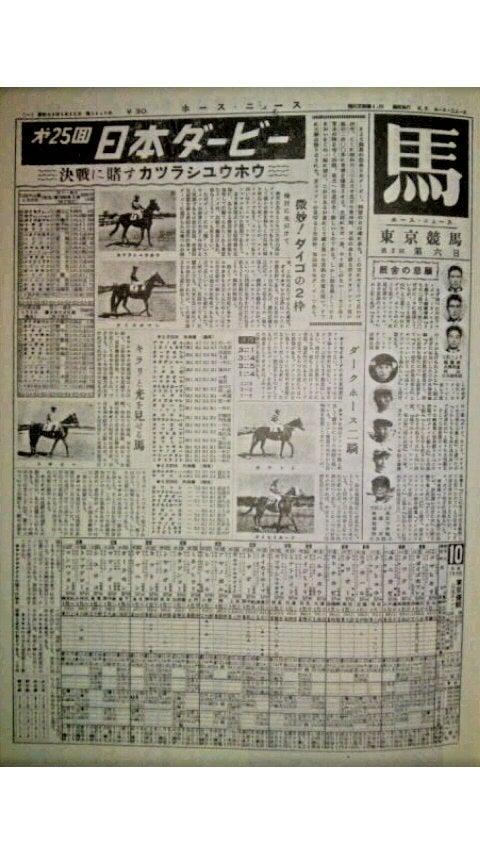 昭和33年 日本ダービー 馬柱 | 昭和競馬倶楽部