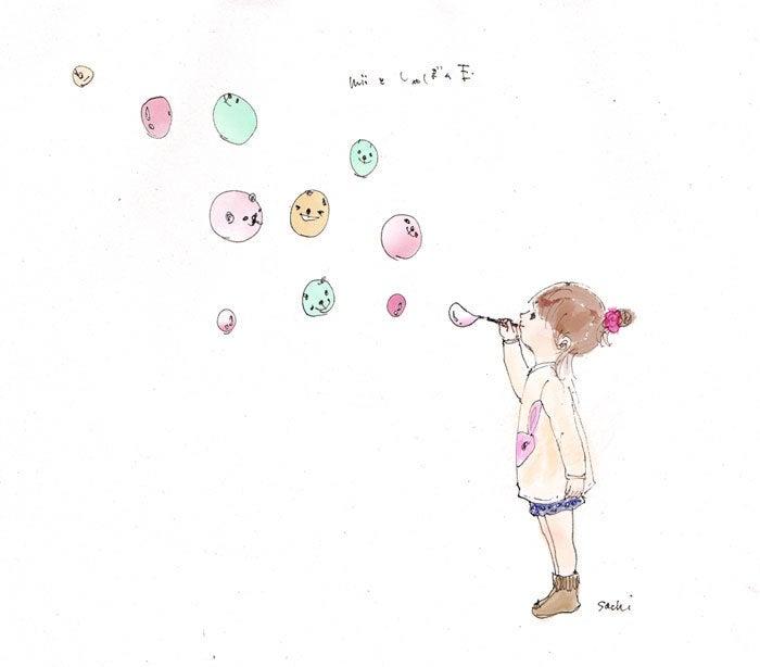 ミィとしゃぼん玉贈るイラスト Sachiママのイラストブログ