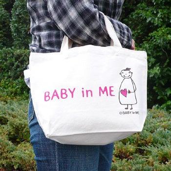 $マタニティママと赤ちゃんの大事な時期をオシャレにメッセージ♪マタニティのシンボルマークBABY in ME公式ブログ-トートバッグフェルトバージョン使用例