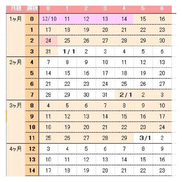 妊娠 カレンダー