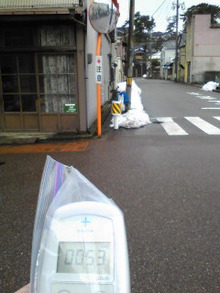 ちょんちゃん♪らが仙台を中心に放射線量を測定します。-2012.3.11酒田市山王クラブ付近0.05台