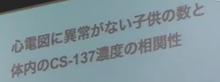 スライド「心電図に異常がない子供の数と体内のCS-137濃度の相関性」