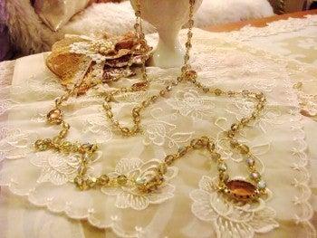 amule アミュレ ~ Handmade life ~- シックな春色のロング2連ネックレス
