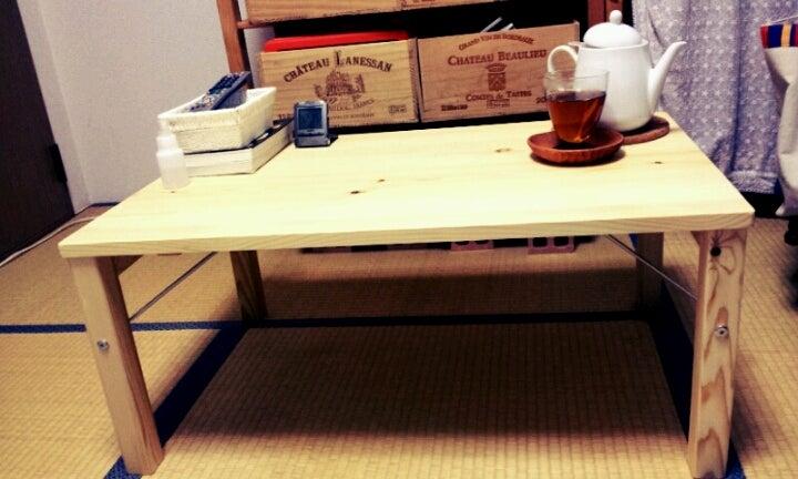 丸いテーブルを使ってたけど小さかったので無印で購入! 10%OFF 折りたためるからgood !!!