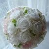 白×ピンク×緑で可愛らしいラウンドブーケ&花冠。松山の新婦様へ。の画像