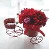 ★幸せを運ぶ三輪車赤カーネーション入りアレンジを母の日に★の画像